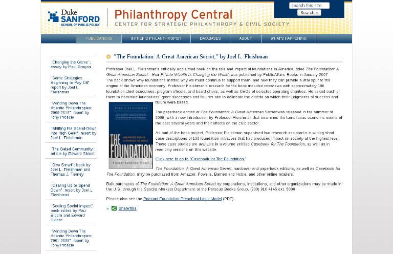 """The Foundation: A Great American Secret,"" by Joel L. Fleishman | Philanthropy Central_2"