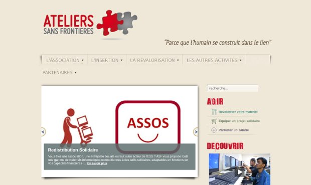 Ateliers Sans Frontières - website