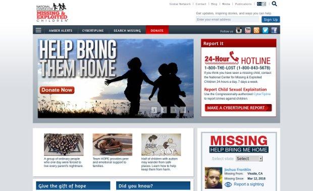 The National Center for Missing & Exploited Children_homepage