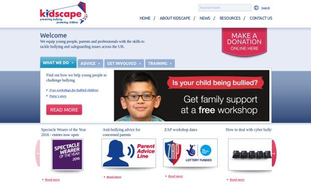 Kidscape-homepage