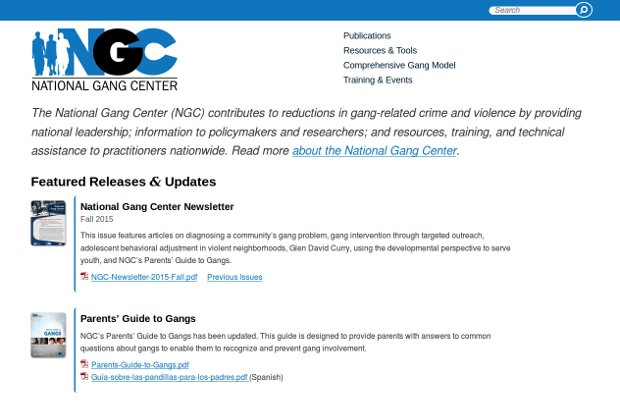 National Gang Center_homepage