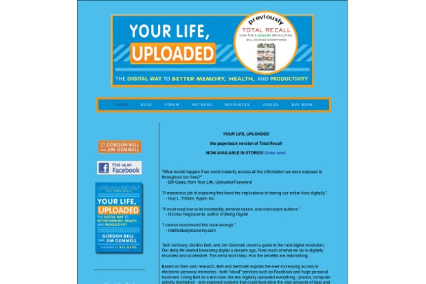 Your Life Uploaded - Homepage